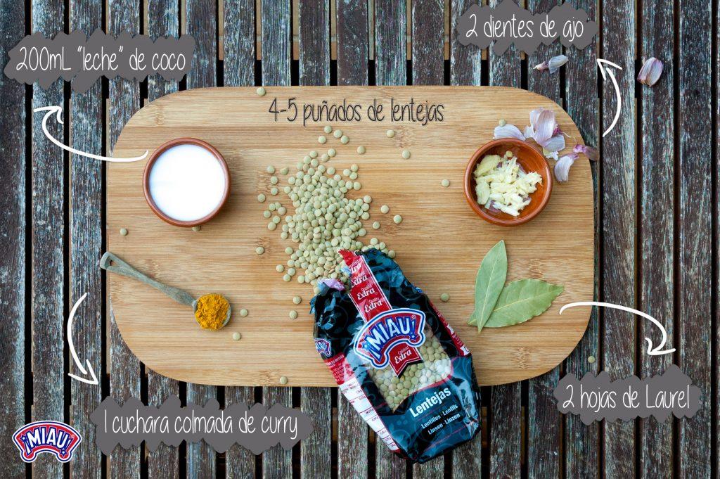 Ingredientes cocción lentejas para quiche