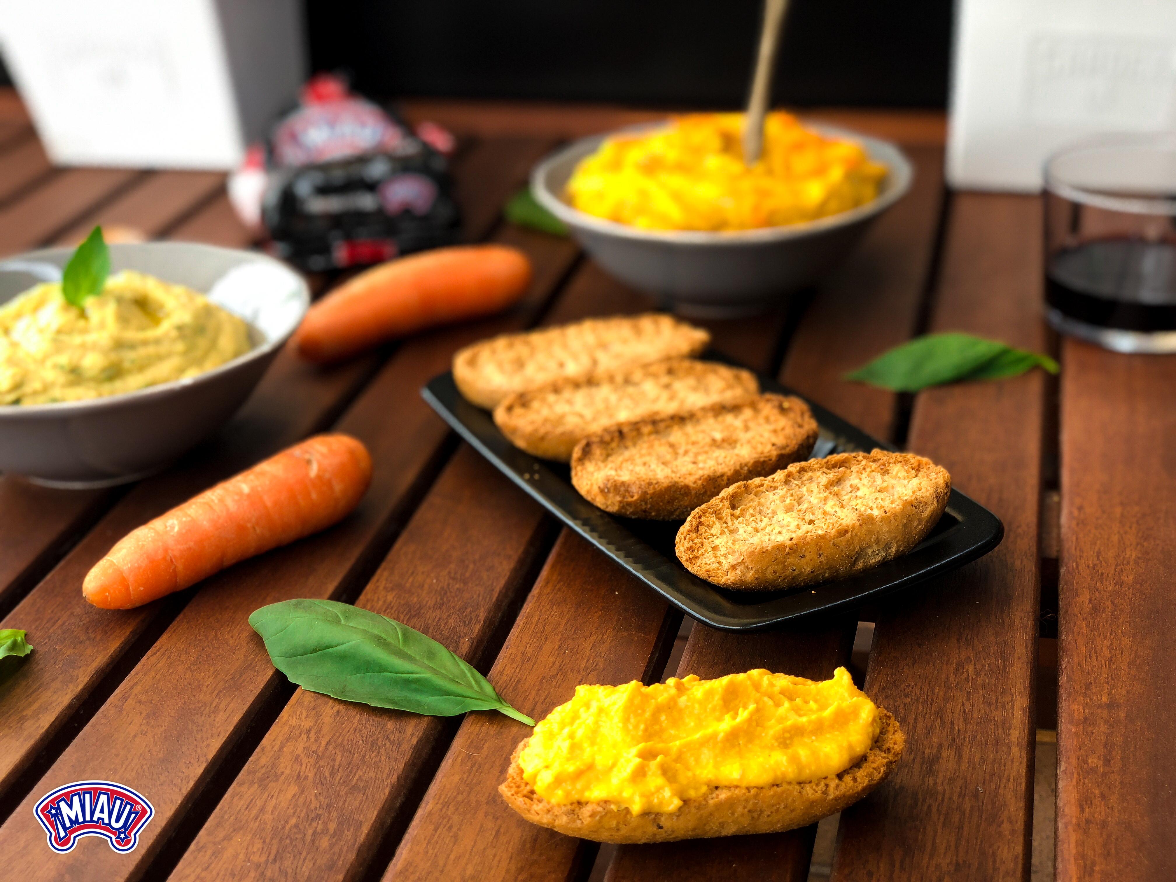 Hummus albahaca y zanahoria