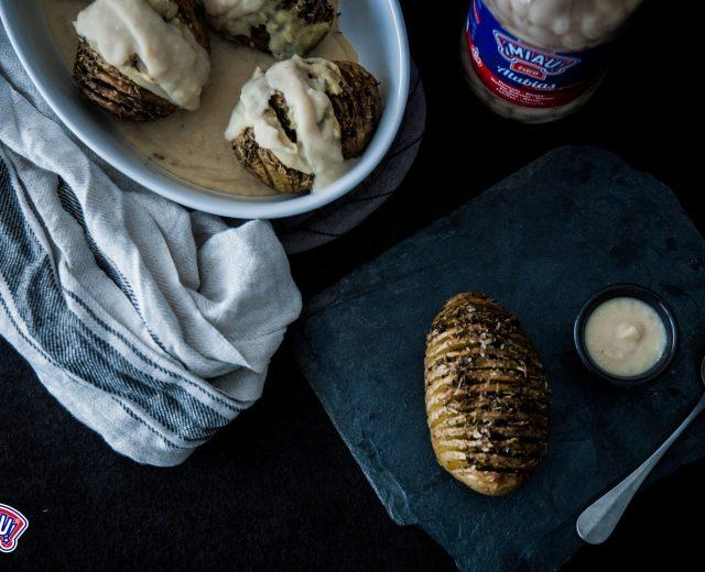 patatas con bechamel vegana