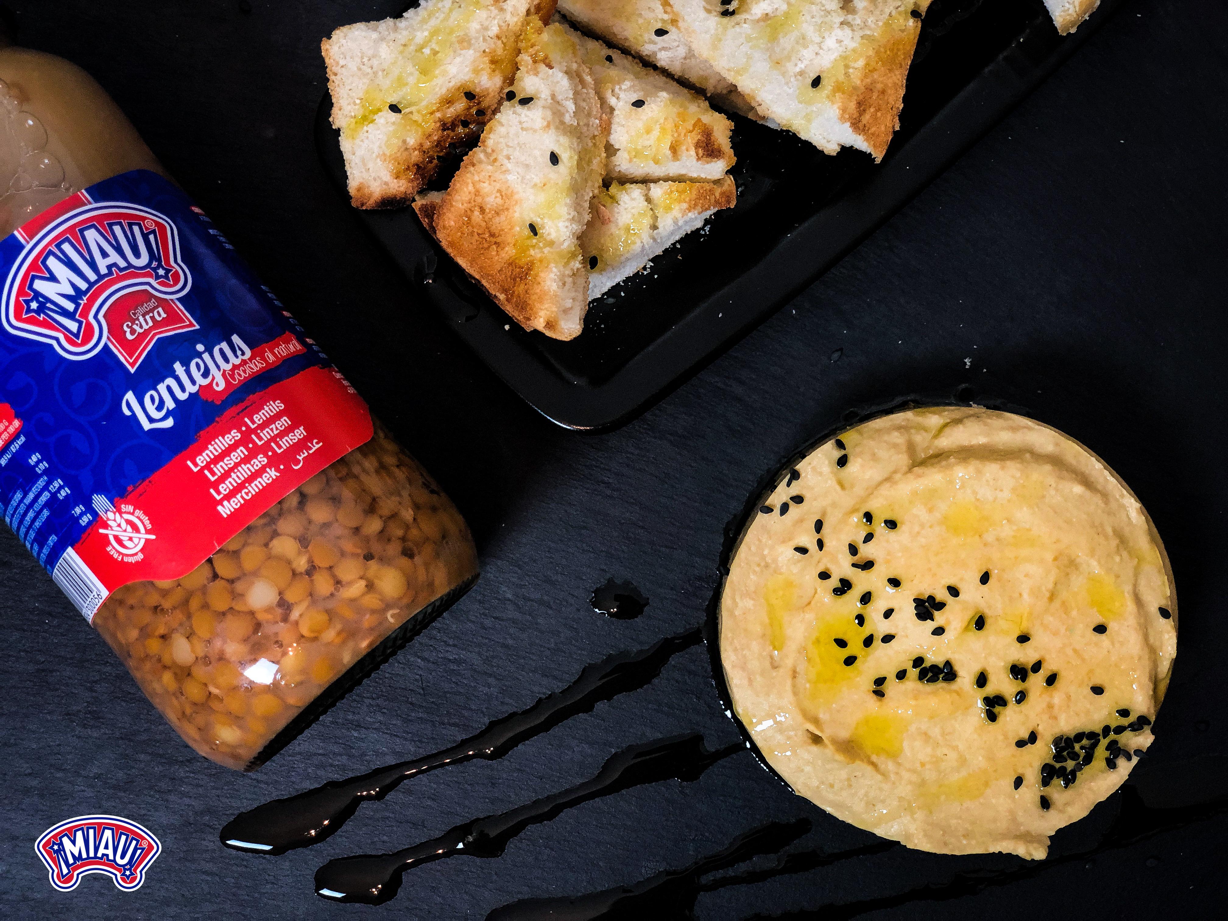 Hummus de lentejas y berenjena